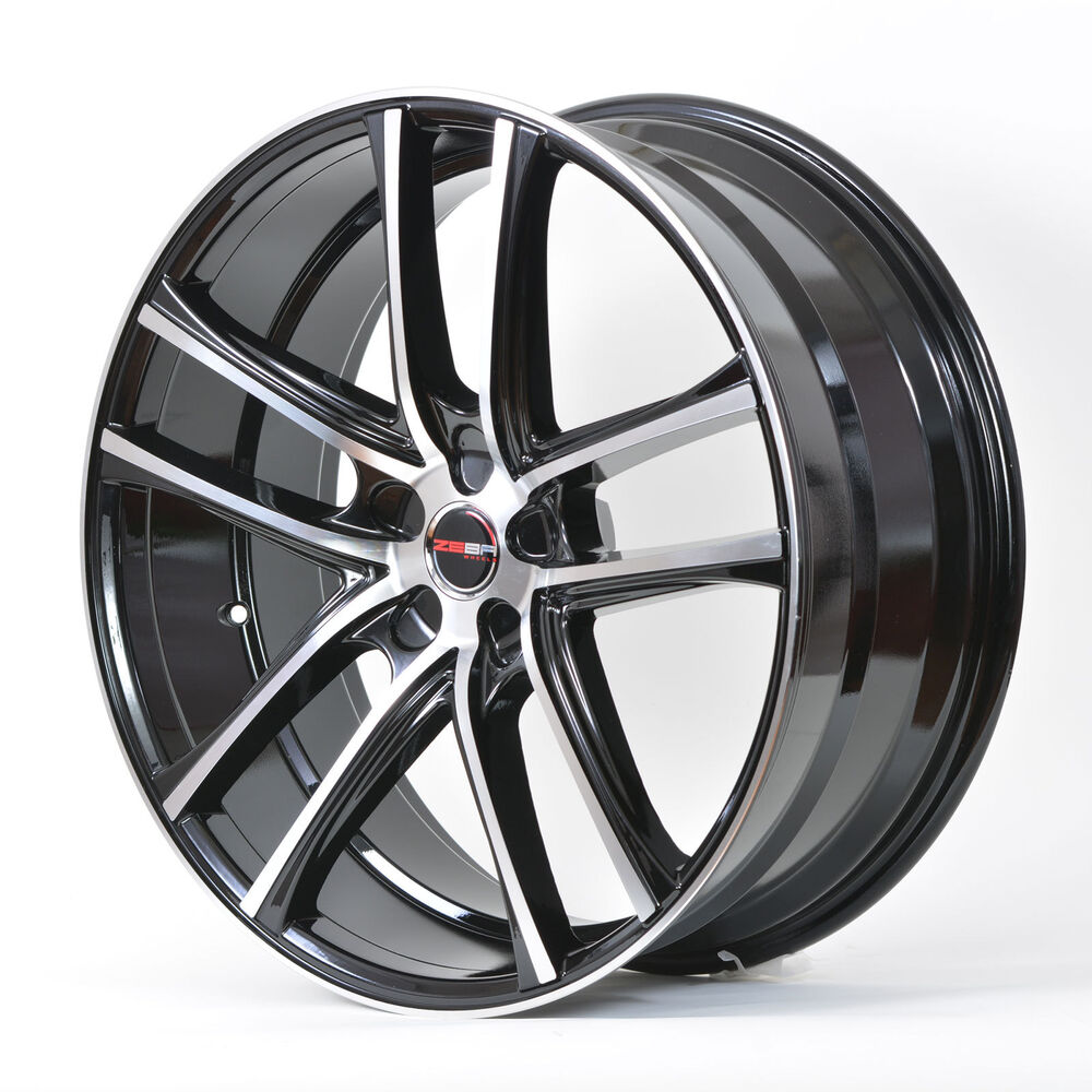 4 gwg wheels 18 inch black machined zero rims fits 5x112