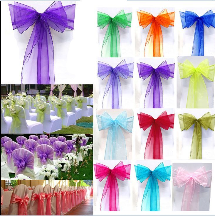 100pcs Organza Chair Cover Sash Bow Wedding Party