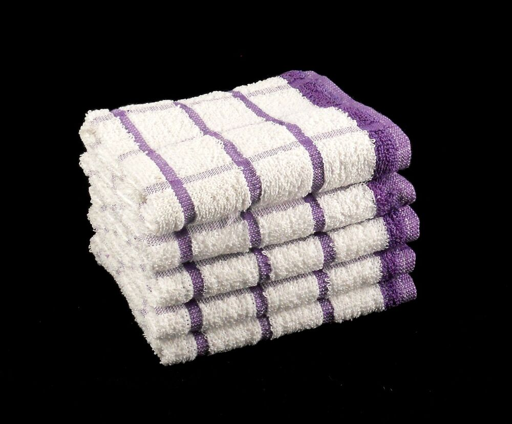 Pack of 10 purple white 100 cotton kitchen terry tea for How to get towels white