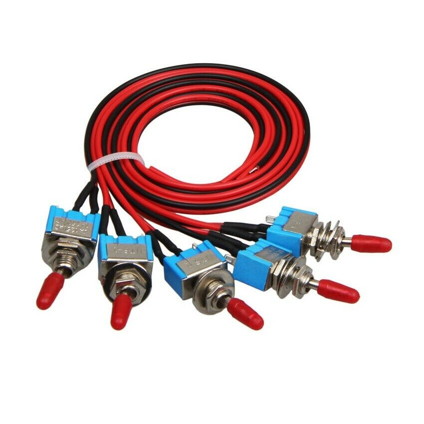 5x Spst Toggle Switch Wires On Off Metal Mini Small