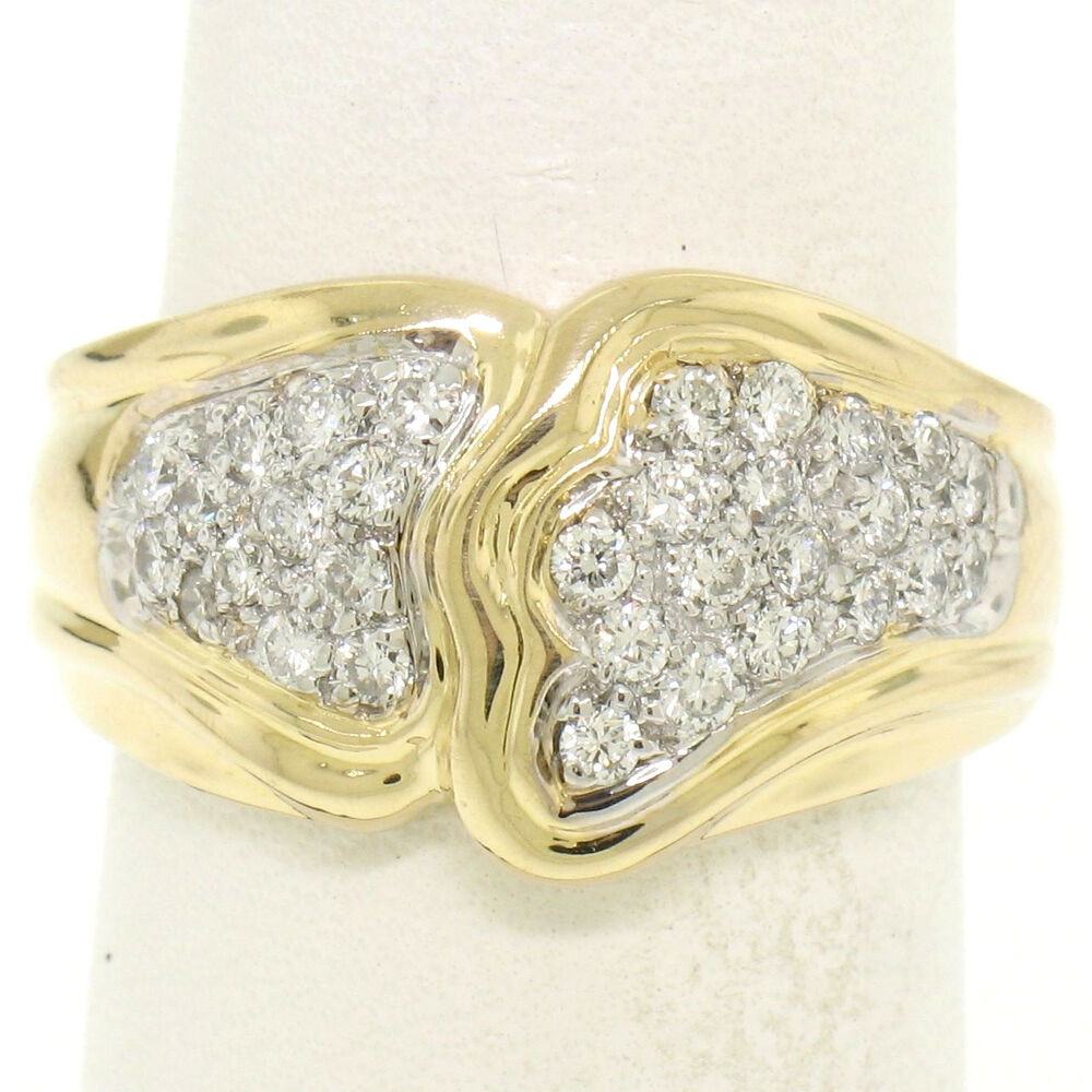 K Gold Wide Band Rings