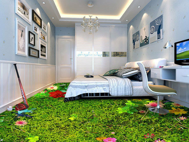 3d flower green grass floor mural photo flooring wallpaper for Home wallpaper ebay