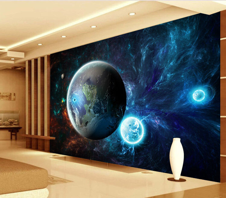 Cool outer space planet full wall mural photo wallpaper for Digital print wallpaper mural