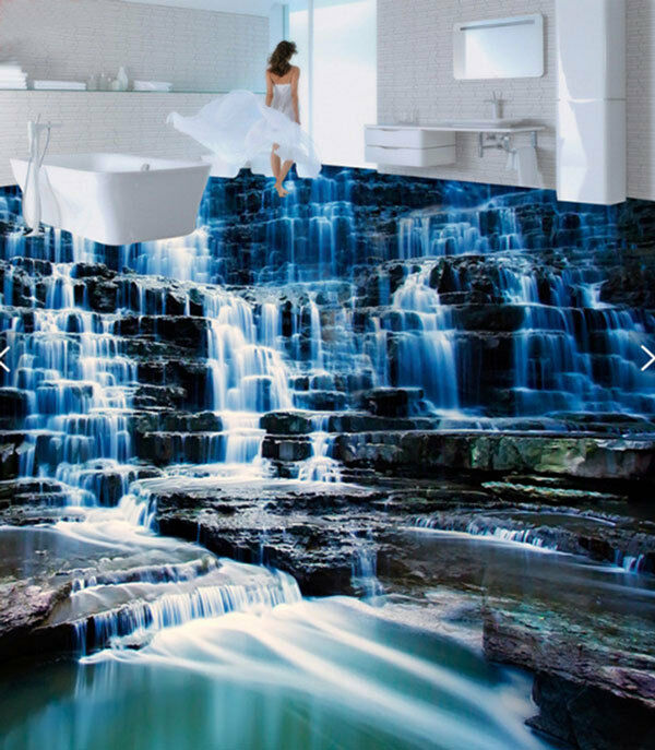 3d waterfall blue rock floor mural photo flooring for 3d wallpapers for home wall in pakistan