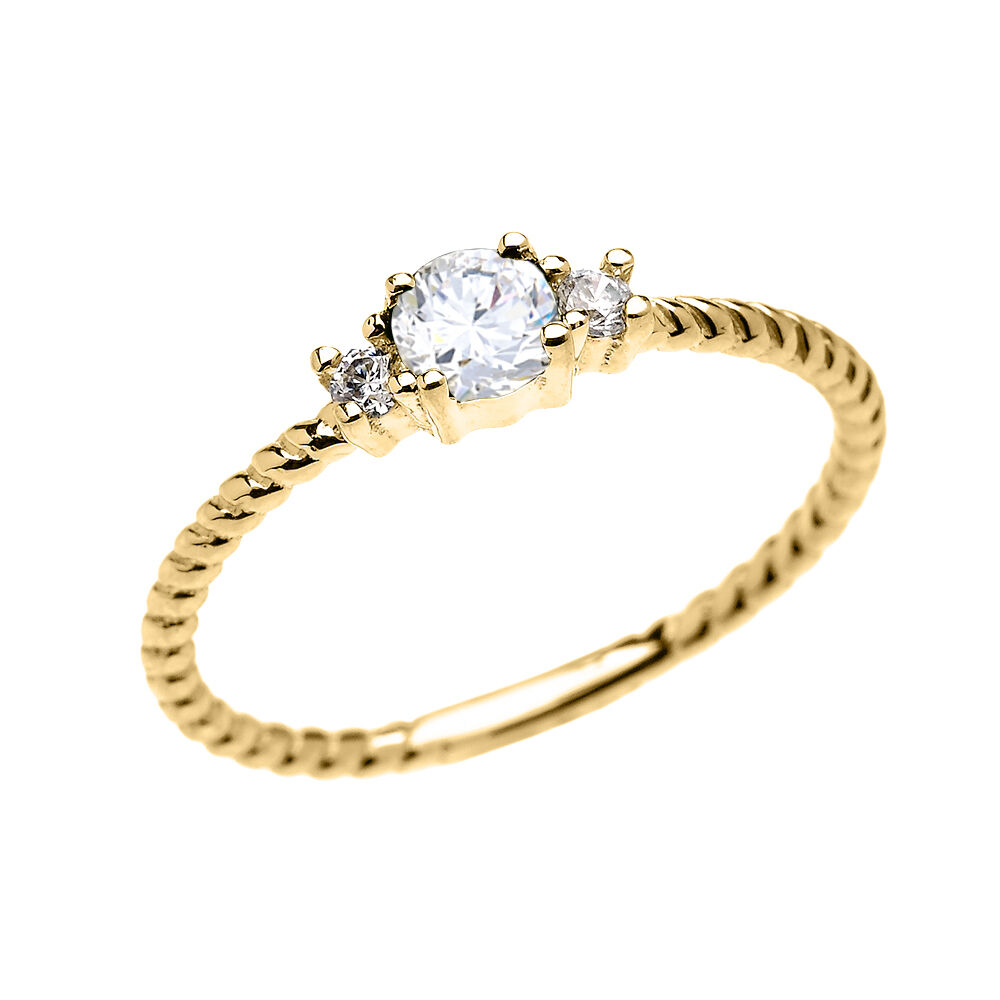 14k yellow gold dainty solitaire white topaz rope. Black Bedroom Furniture Sets. Home Design Ideas