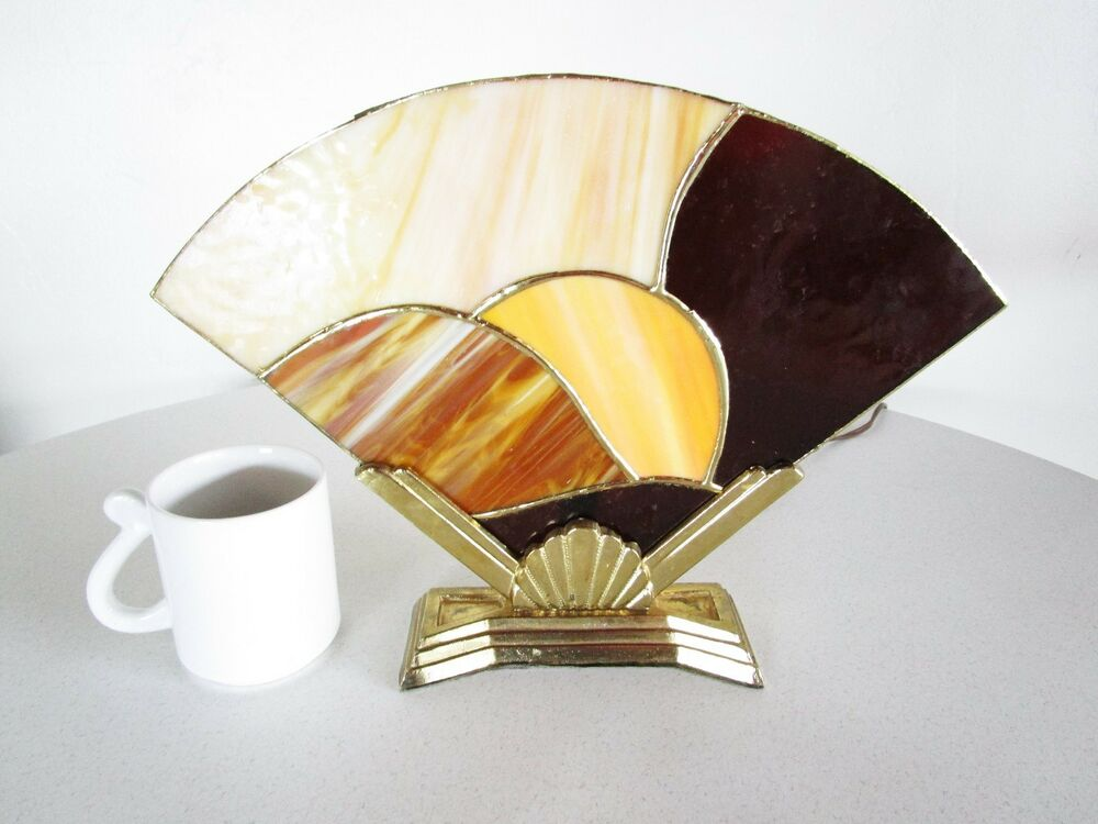 1980 S Stained Glass Lamp : Funky art deco s vintage stained glass fan lamp bmi