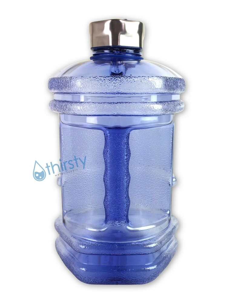 blue bpa free water bottle 2 3 liter hexagon canteen gym jug container gallon oz ebay. Black Bedroom Furniture Sets. Home Design Ideas