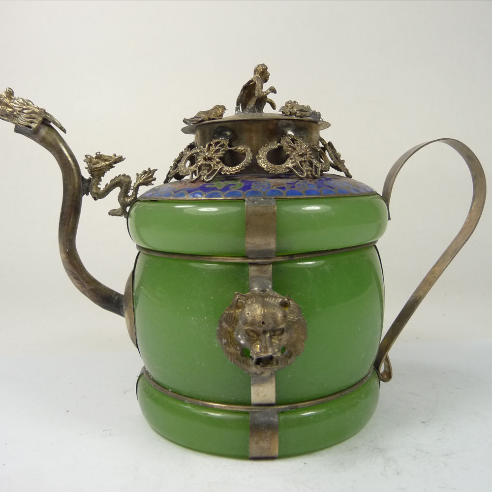 Collectible old china handwork superb jade teapot armored