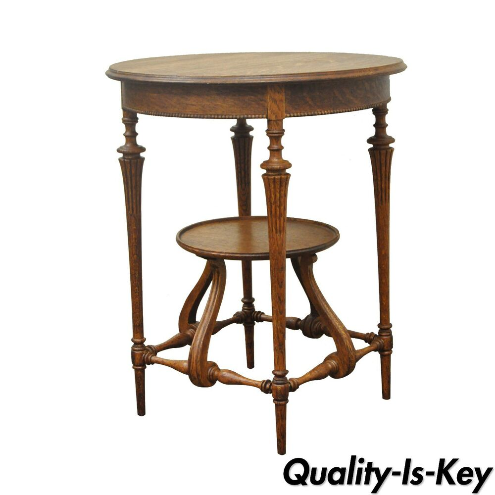 end tables vintage antique carved oak 2 tier fern accent 3570