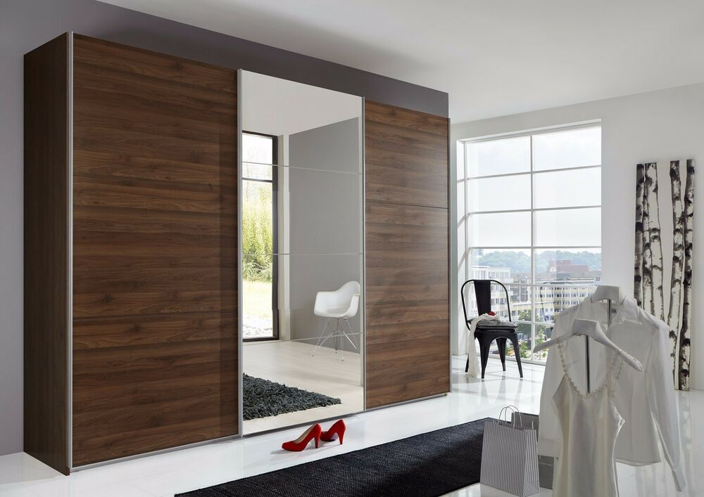 german ernie 270cm walnut mirror 3 door sliding door wardrobe ebay