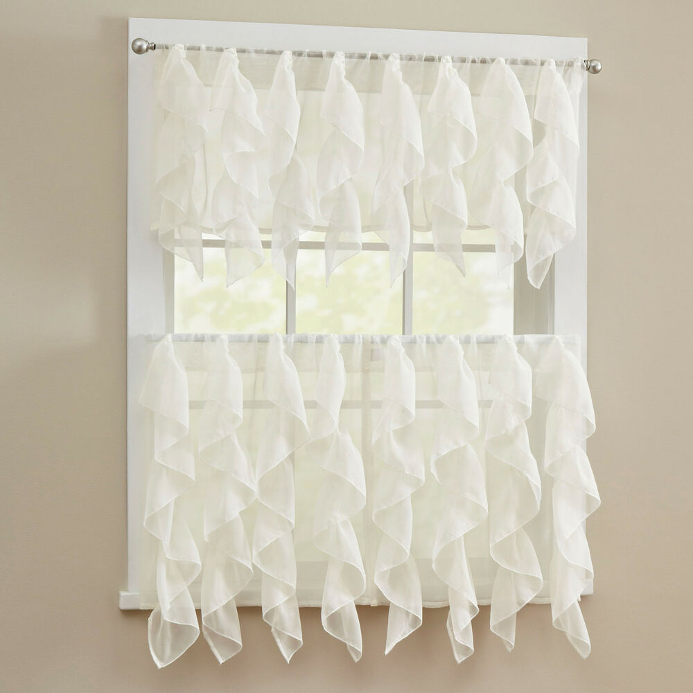 Sheer Voile Vertical Ruffle Window Kitchen Curtain Tiers Or Valance Ivory Ebay