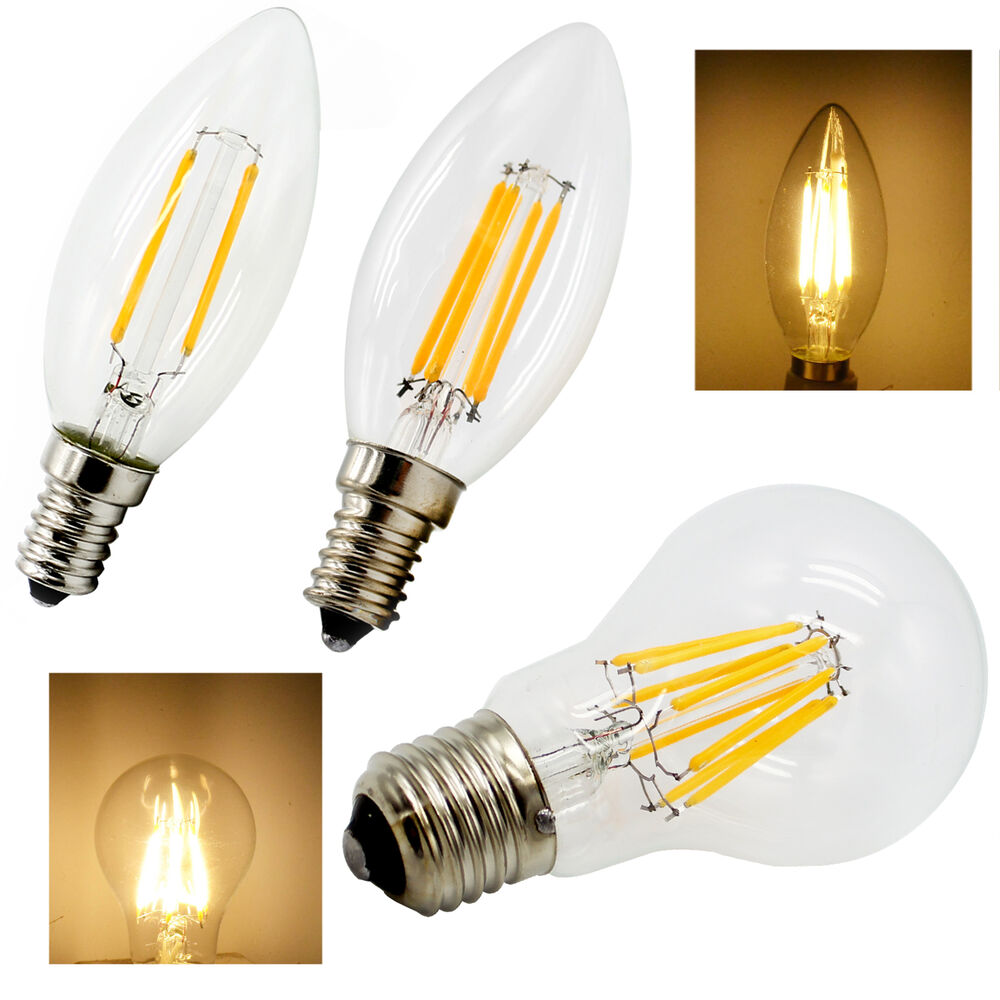 dimmable e14 e27 warm white led filament bulb globe candle lights 2 8w lamp 220v ebay. Black Bedroom Furniture Sets. Home Design Ideas