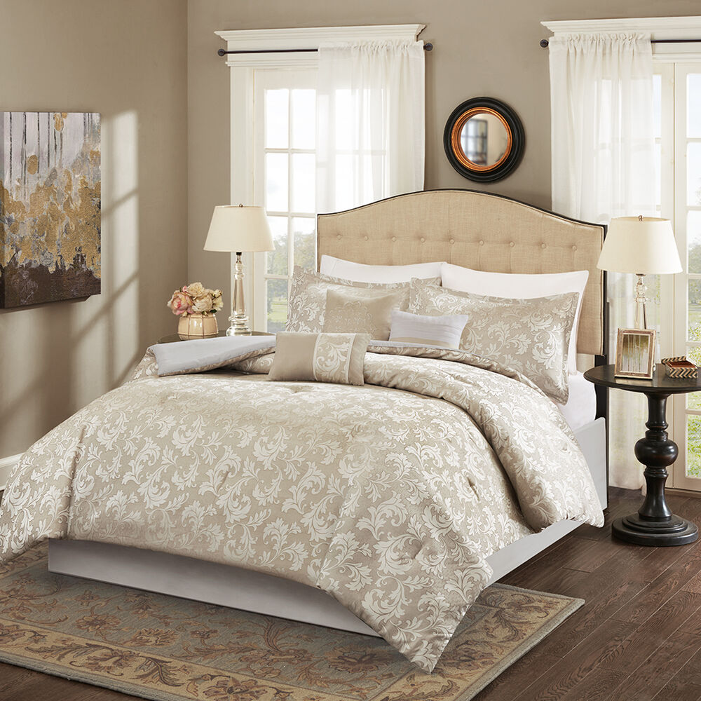 Beautiful taupe jacquard comforter bedskirt 7 pcs set king queen ebay for Beautiful bedroom comforter sets