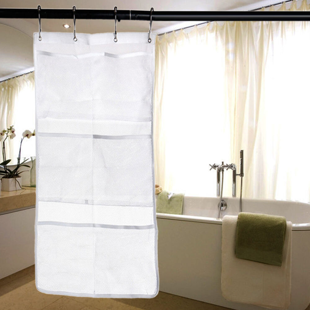 6 pocket bathroom tub shower bath hanging mesh organizer for Bathroom organizers