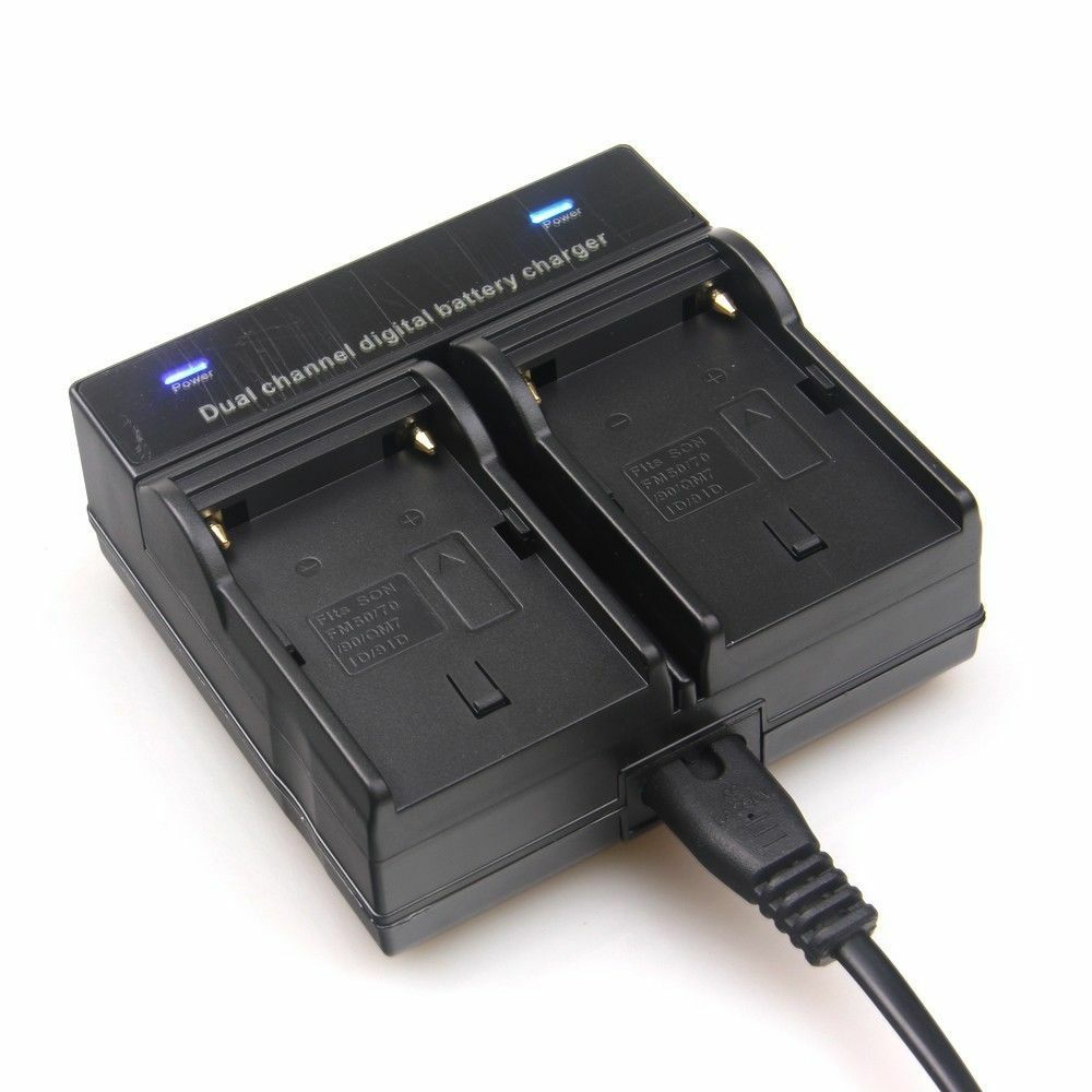 Dual Channel Battery Charger For Sony Np F550 F960 F750 F970 Fx1000e Bc V615a Ebay