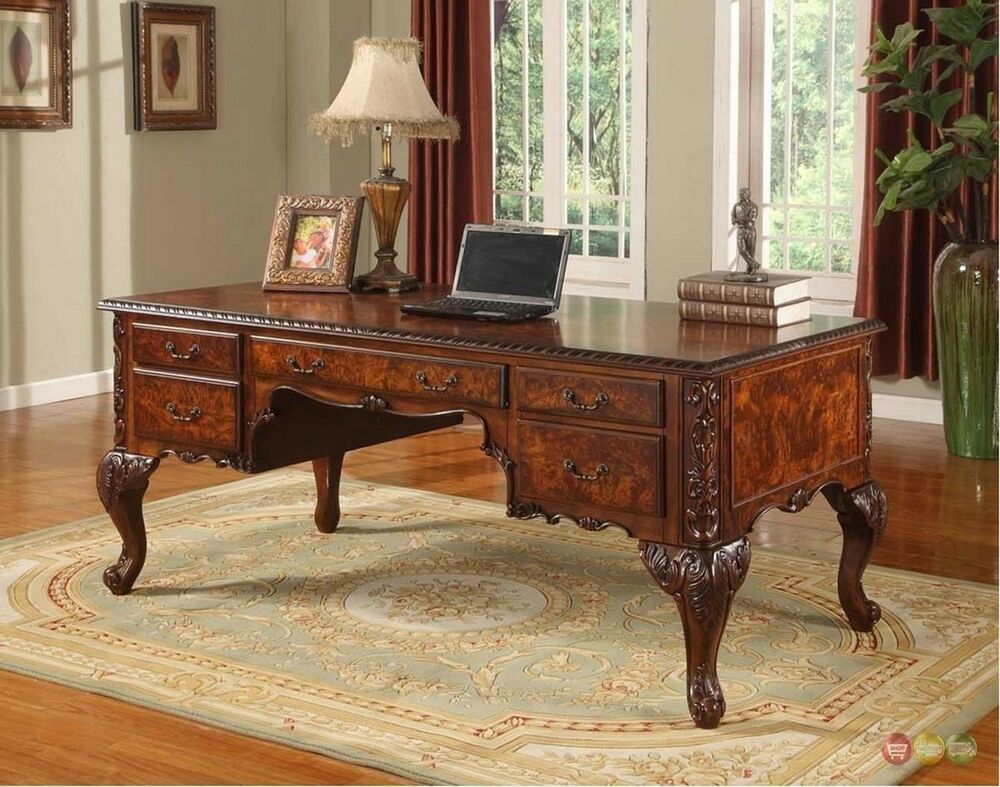 Warm Cherry Executive Desk Home Office Collection: Office Desk Elegant Traditional Cherry Burl Wood Ornate