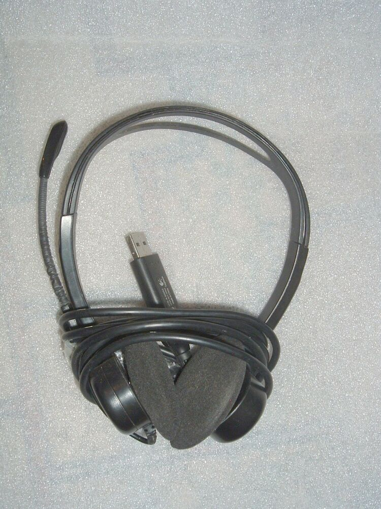 Details about Used Logitech OEM PC 960 USB Stereo Headset Noise Cancelling  Model A-00053 Black 9c12971eee