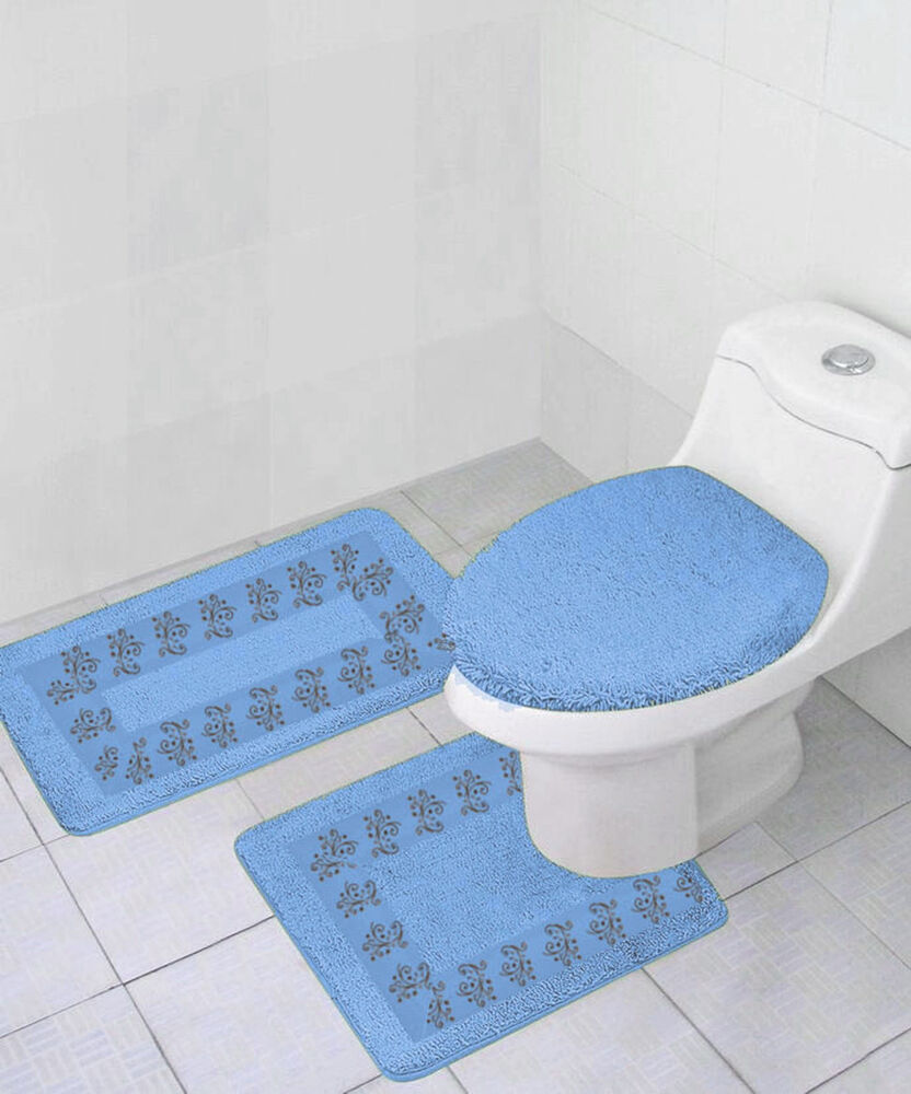 3pc 5 Light Blue Bathroom Bath Mats Rug Carpet Contour
