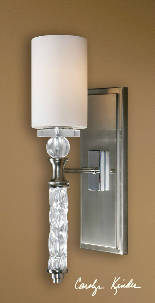 20 Brushed Nickel Plate Glass Crystal Wall Sconce Light Contemporary Or Vintage Ebay