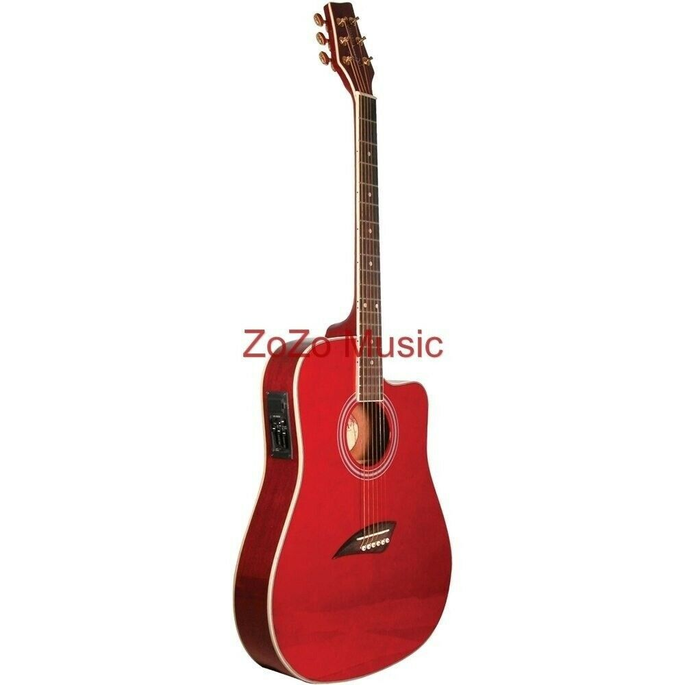 new kona k2trd thin body acoustic electric guitar trans red free shipping ebay. Black Bedroom Furniture Sets. Home Design Ideas
