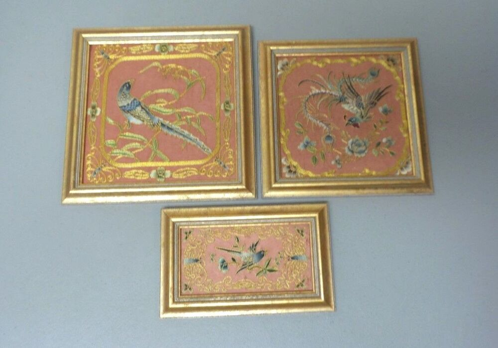 Group 3 Framed Antique Chinese Japanese Silk Embroidery