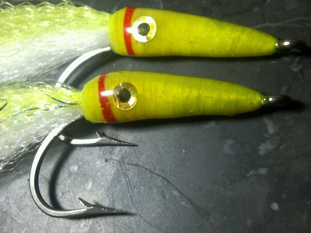 Chartreuse size 4 0 saltwater cuda man eel fly fishing for Ebay fly fishing