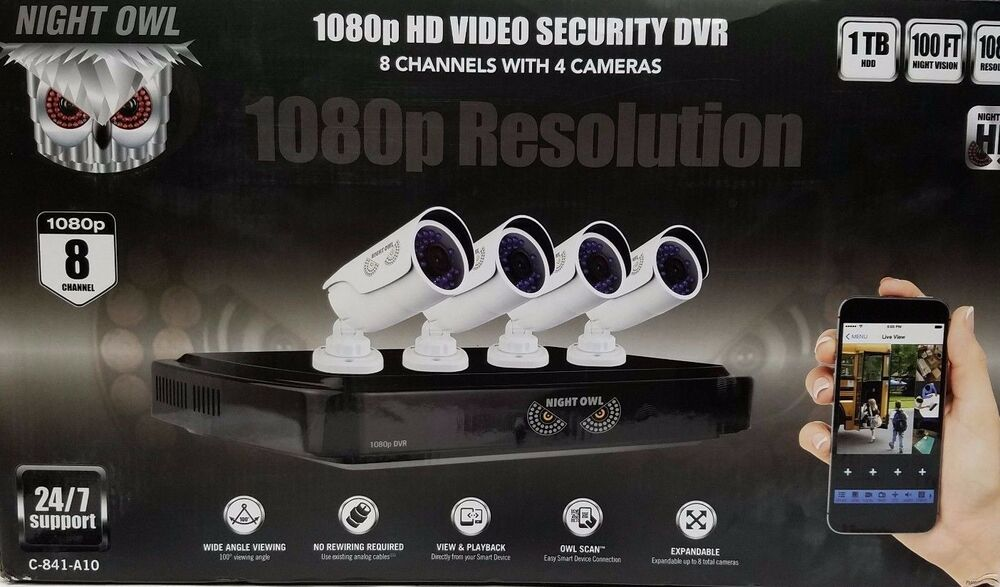 Night Owl 8-Channel 4-Camera 1080p Security System W/1TB