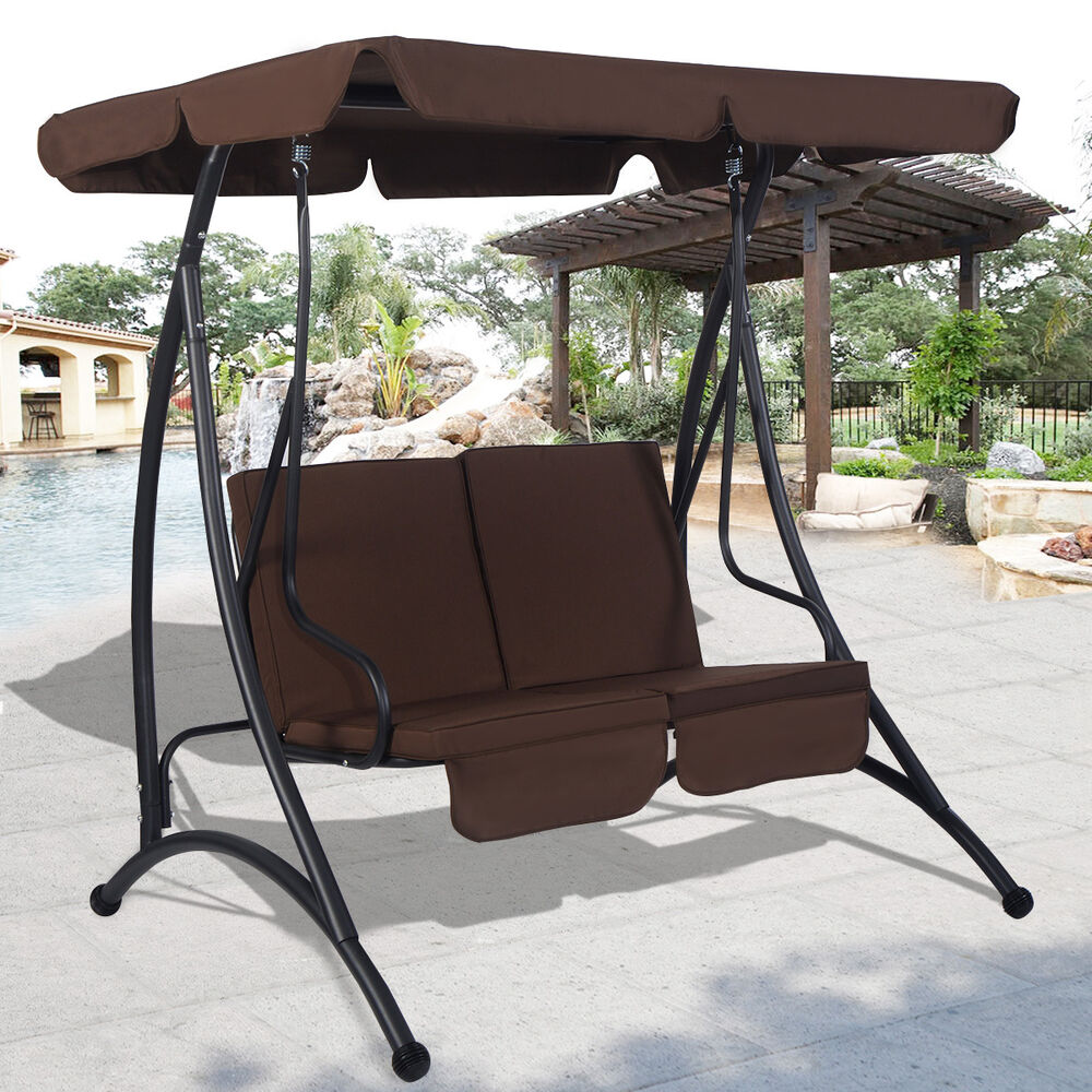 Brown 2 Person Canopy Swing Chair Patio Hammock Seat