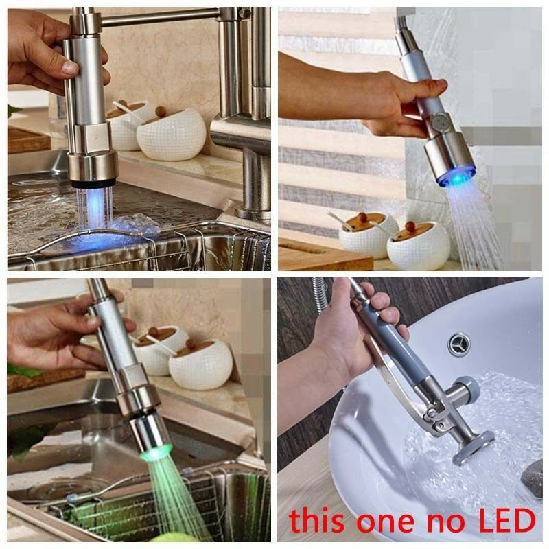 Led Color Changing Kitchen Faucet Spout Replacement Brushed Nickel Sprayer Ebay