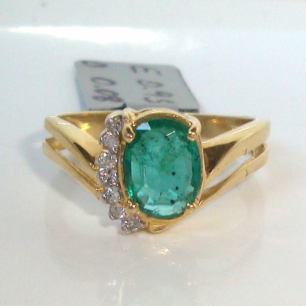 1 03ct Diamond & Natural Emerald Solid 14K Y Gold Ring Fine Jewelry