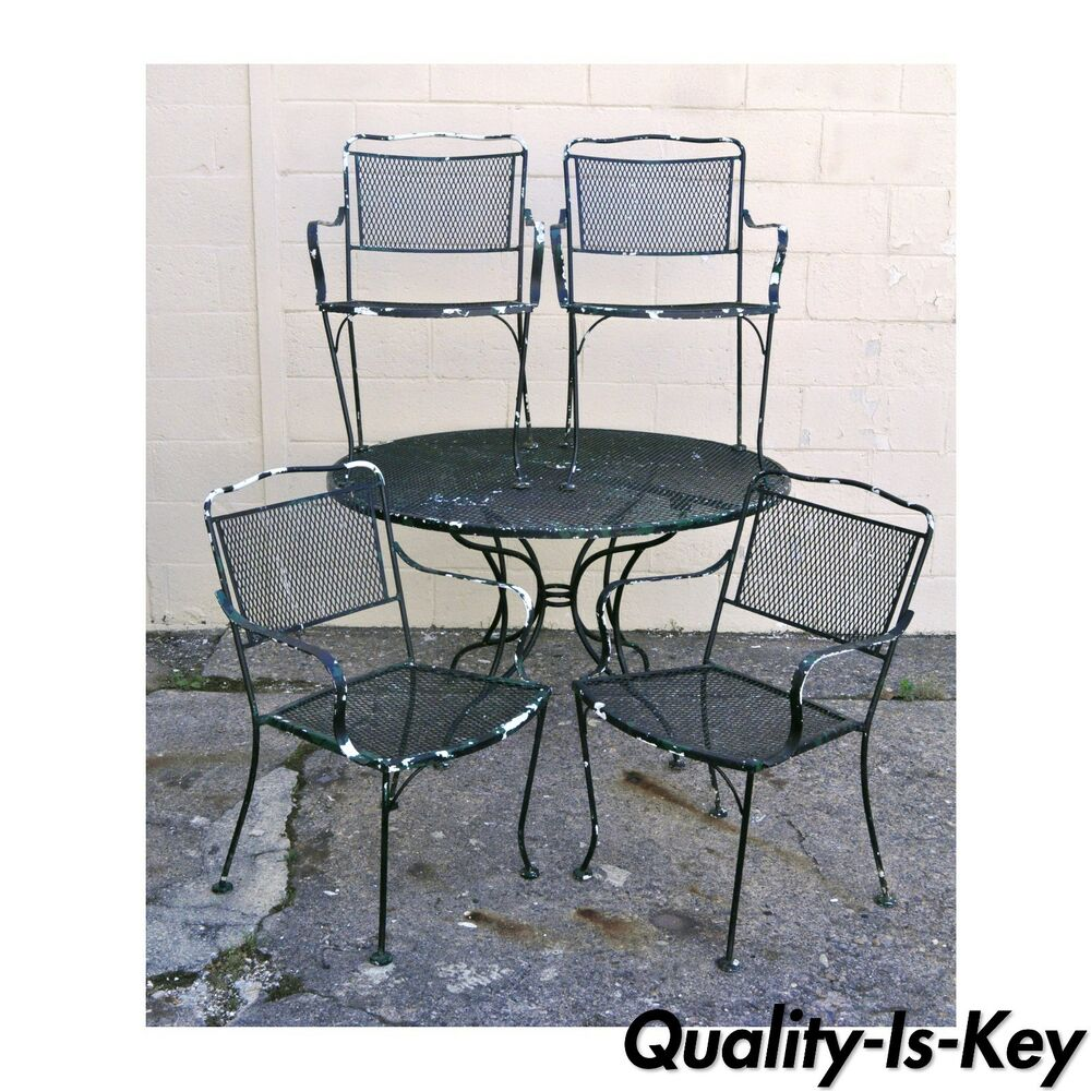 Vintage wrought iron outdoor patio dining set table 4 for Woodard outdoor furniture