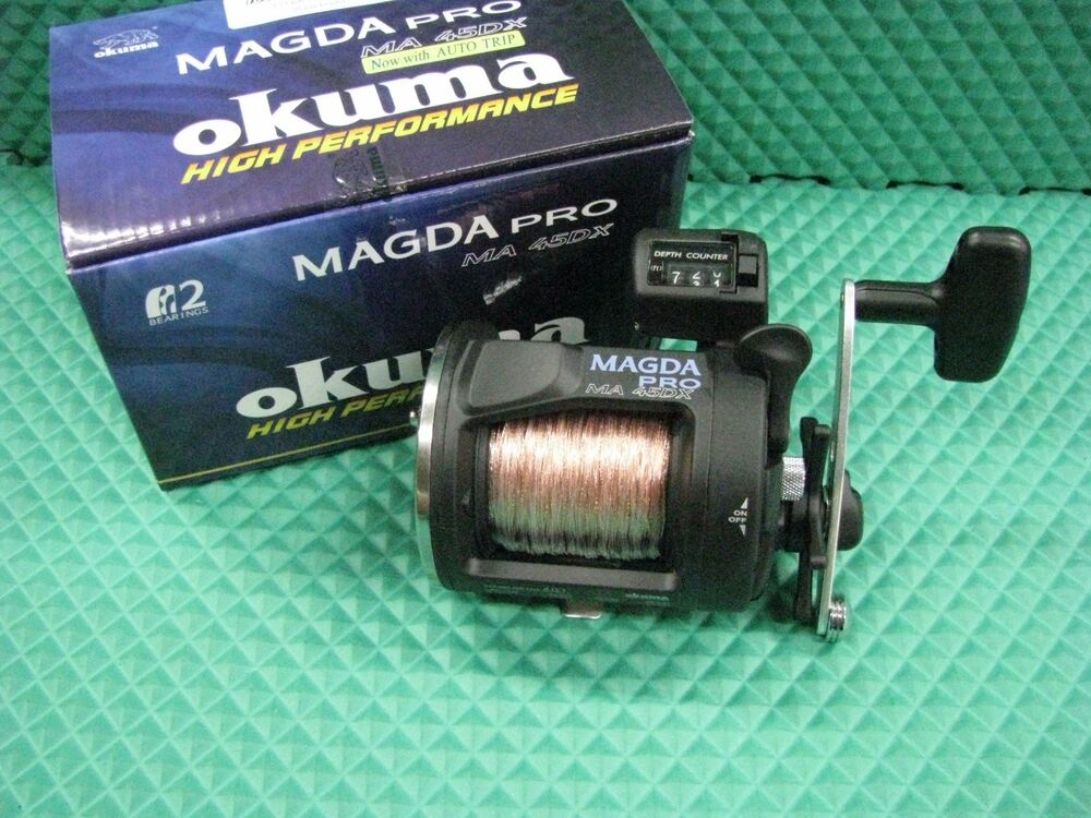 Okuma magda pro ma 45dx line counter trolling reel spooled for Fishing line counter