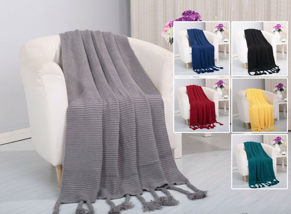 Soft Plush Camilla Knitted Coverlet Throw Couch Cover Sofa