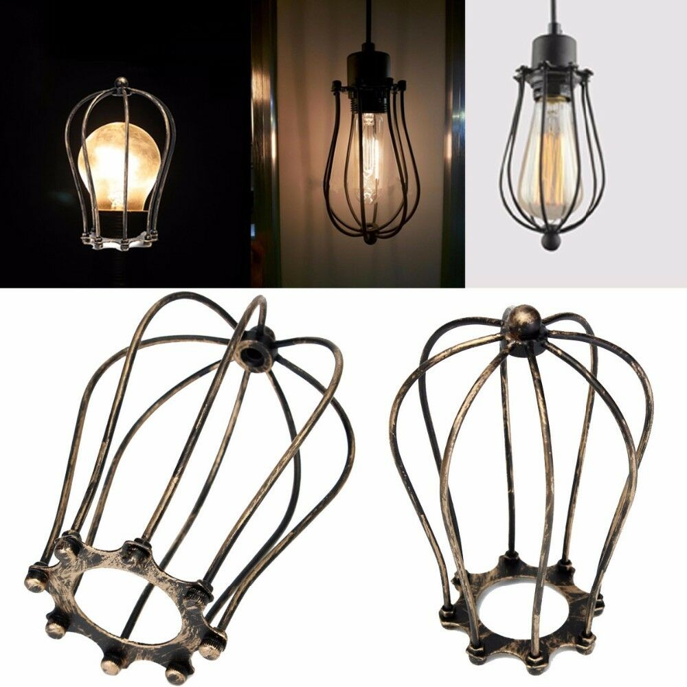 Vintage Iron Bulb Cage Hanging Lamp Holder Guard