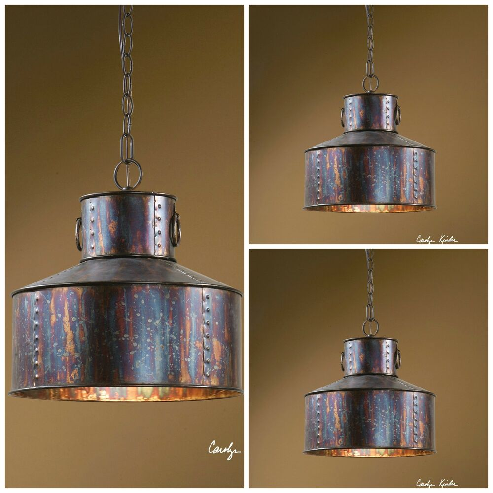 "Hanging Light Fixture: THREE 15"" OXIDIZED WASH METAL HANGING PENDANT LIGHTS"