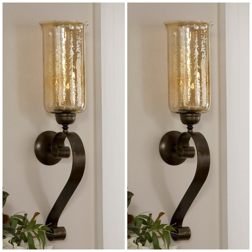TWO ANTIQUED BRONZE HAND FORGED METAL & GLASS WALL SCONCE ...