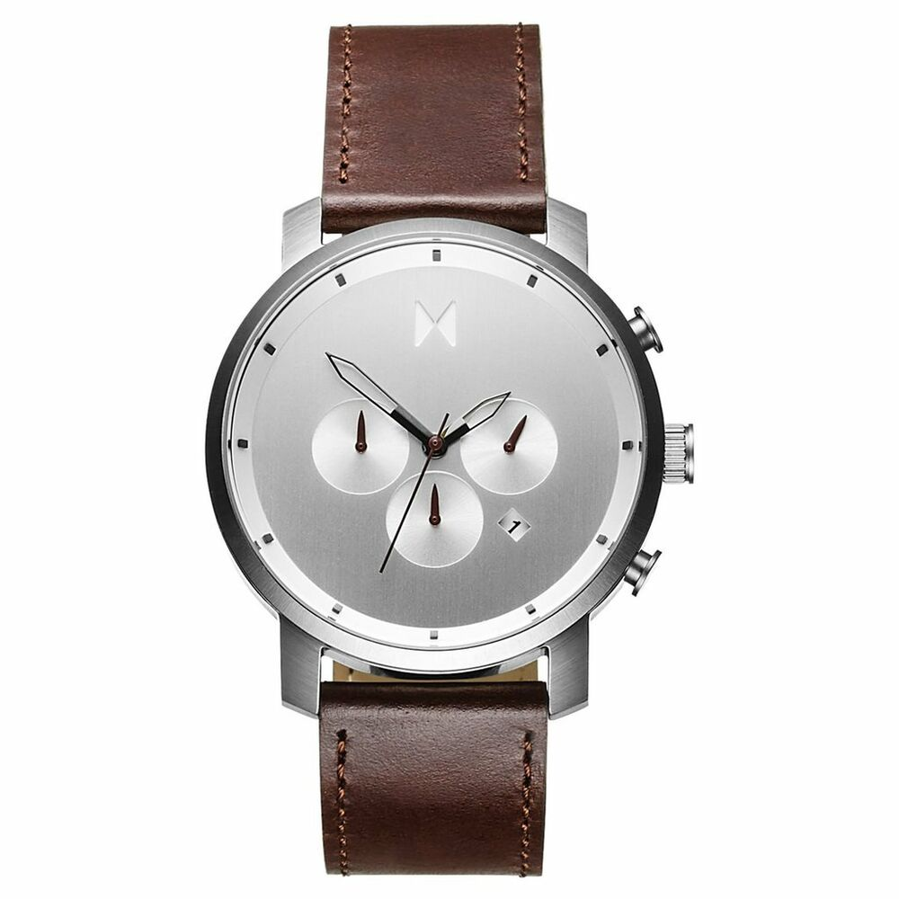 Mvmt watches chrono silver brown leather men 39 s watch chronograph original ebay for Mvmt watches
