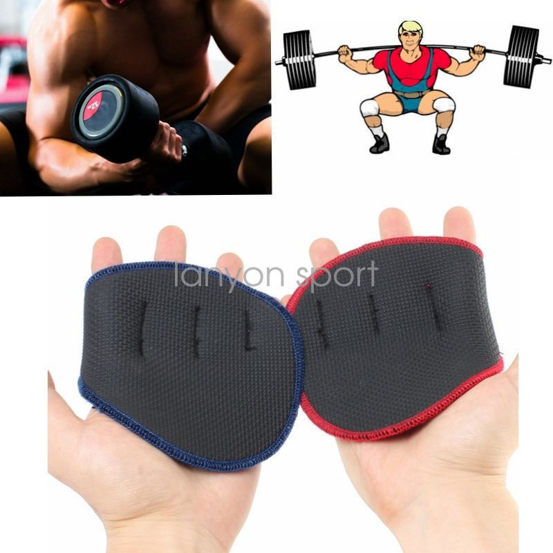 Fitness Weight Lifting Gloves: Grip Weight Lifting Pads Gloves Fingerless Support Gym