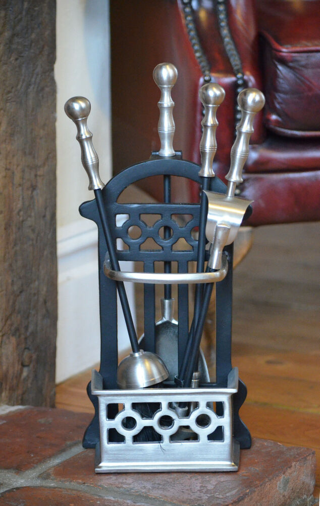 victorian companion set fire tool set black pewter. Black Bedroom Furniture Sets. Home Design Ideas