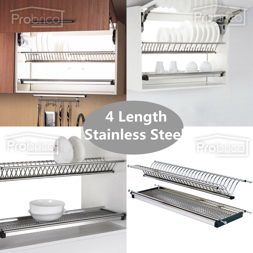 folding 2 tier dish drying dryer racks drainer plate for cabinet stainless steel ebay. Black Bedroom Furniture Sets. Home Design Ideas