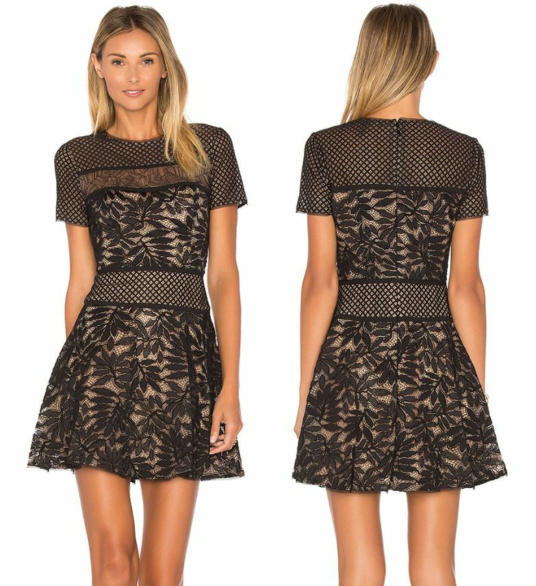 New Bcbg Maxazria Eleanor Lace Blocked Dress Black Combo 2 Ebay