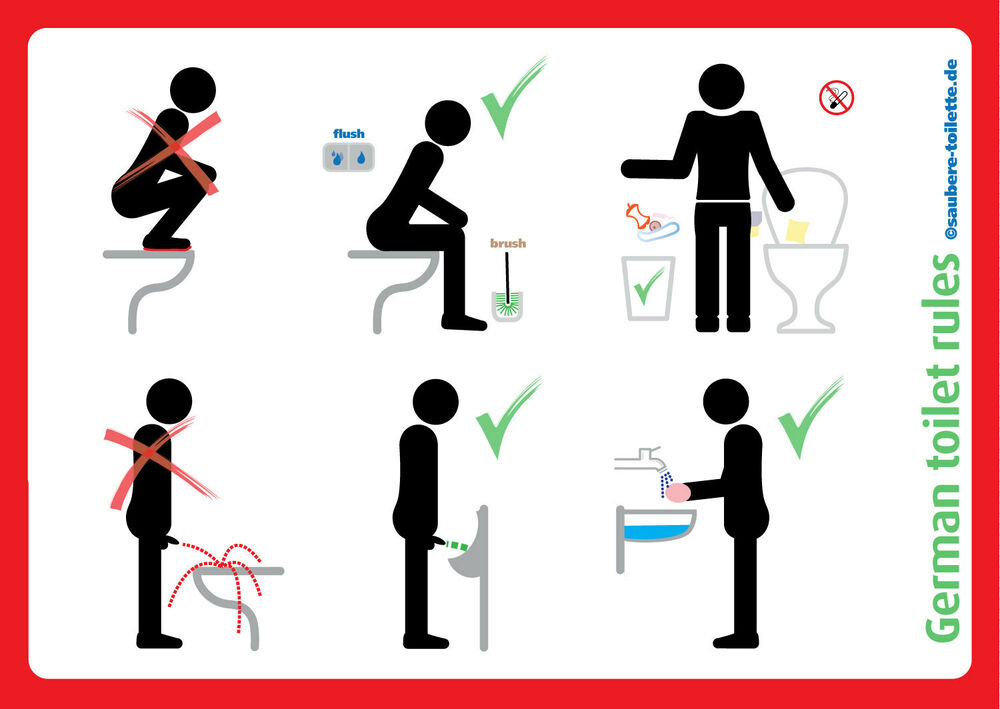 4xgerman Toilet Rules Etiquette Sit Down To Pee Use Brush