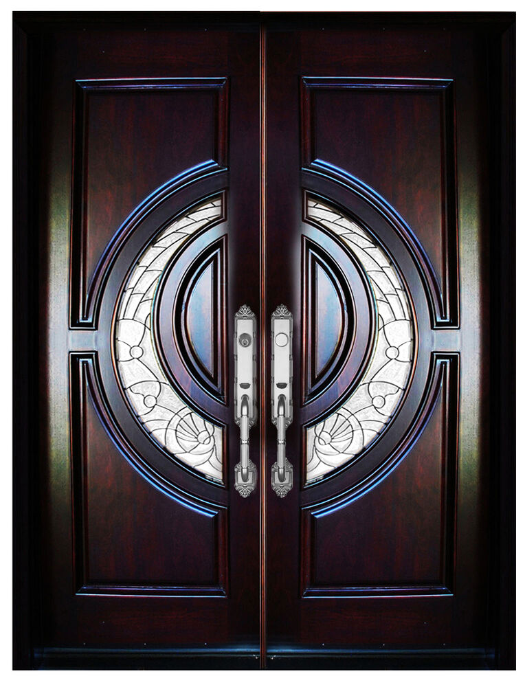 "Entry Front Doors: Mahogany Double Exterior Front Entry Wood Door 580E 32""X80"