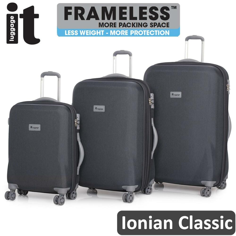 it luggage frameless ionian 3 trolley suitcase set travel. Black Bedroom Furniture Sets. Home Design Ideas