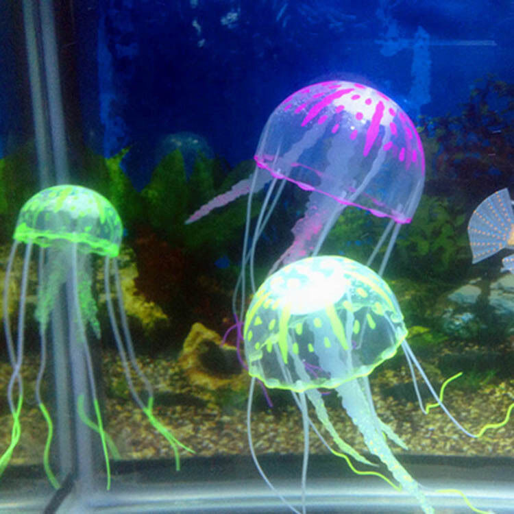Decor jellyfish aquarium decoration artificial glowing for Fish tank top