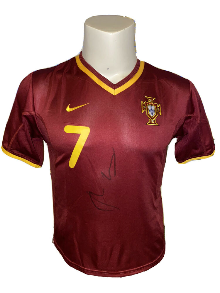 d8161a3c8 Signed Retro Luis Figo Portugal Home Shirt Childrens