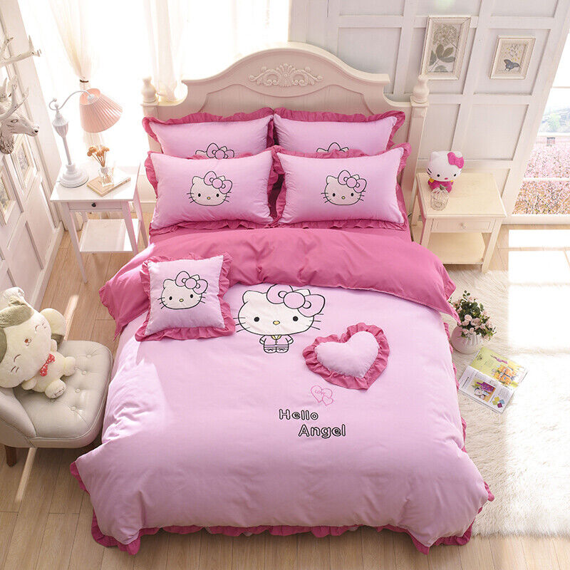 kids hello kitty bedding duvet quilt cover bedding set twin full queen size pink ebay. Black Bedroom Furniture Sets. Home Design Ideas