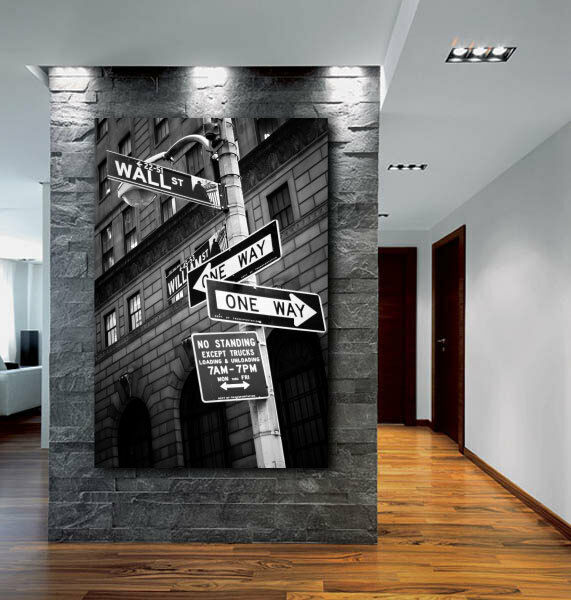 Wall street sign new york city canvas fine art poster for Home decor new york
