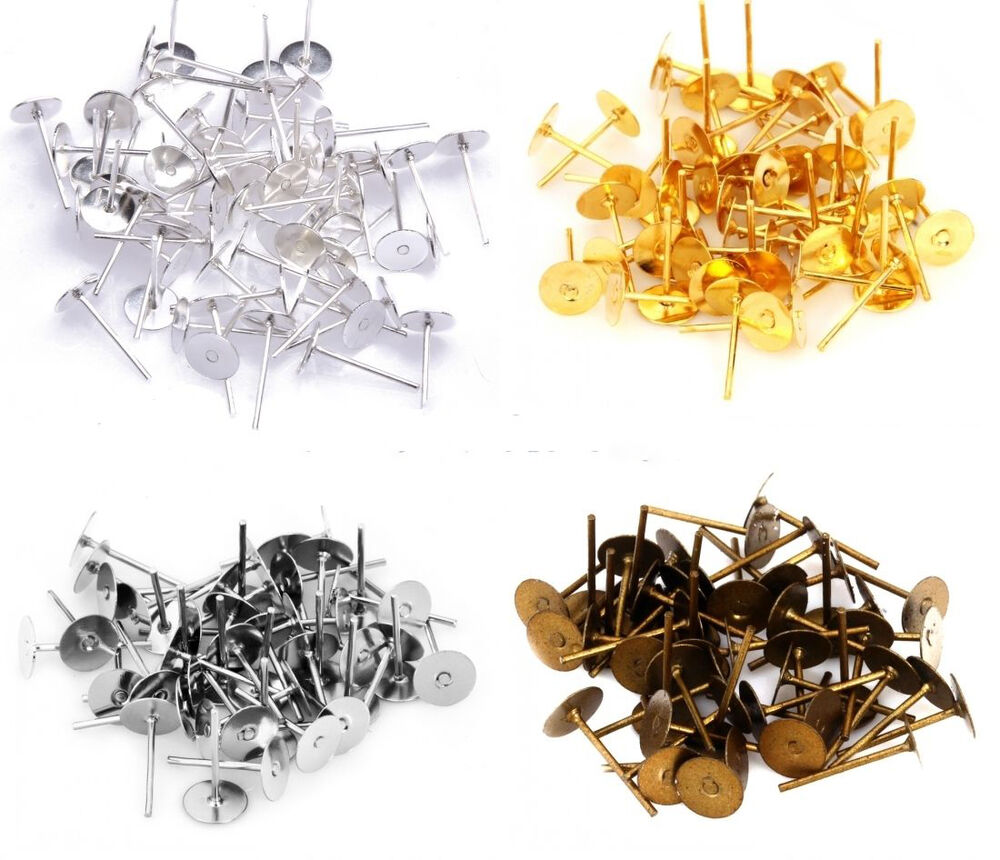 100pcs 6mm flat pad stud earring post peg pin diy making for Earring supplies for jewelry making