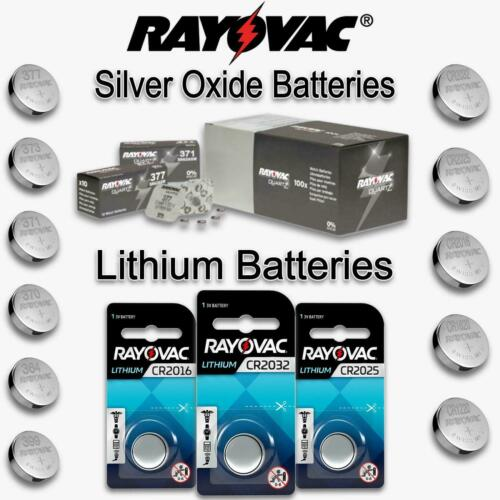 5X Rayovac Cell Battery Swiss Made Silver Oxide / Lithium Batteries - All Sizes